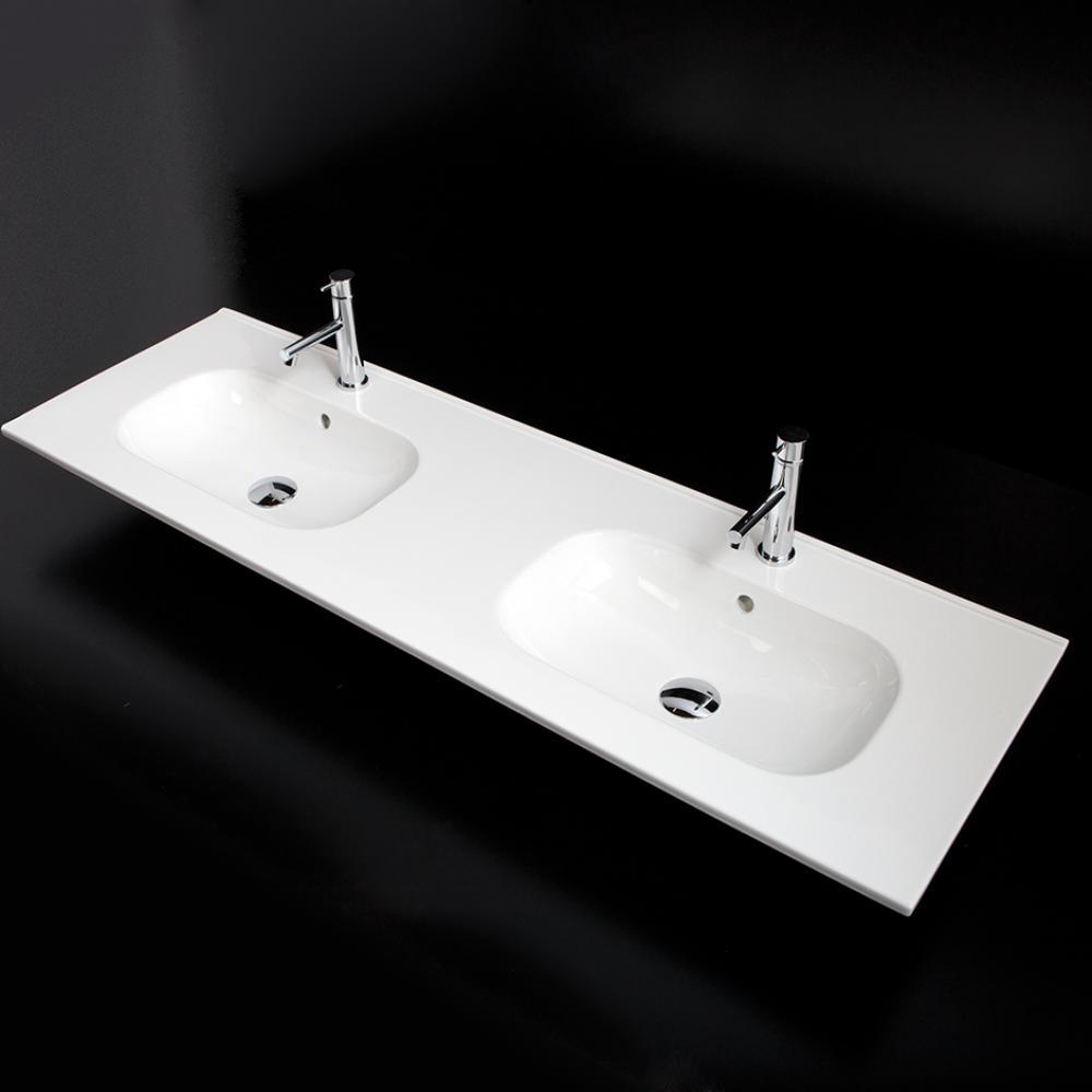 Vanity Top Porcelain Double Bowl Bathroom Sink With Overflow W 55 3 4 D 18 Ap 8071 03 001 Cregger Company Inc